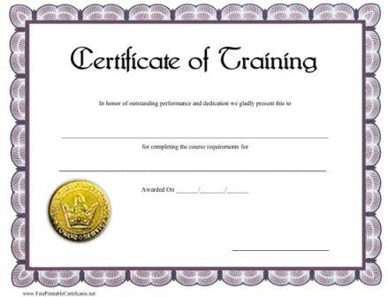 blank training certificate