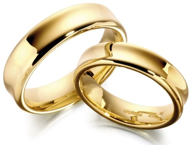 pair gold wedding rings