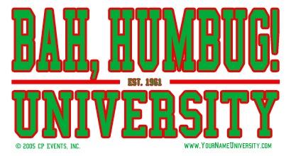 Your Name University Bah Humbug Logo